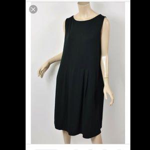 J Jill Black Pleated Sleeveless Dress